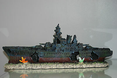 Aquarium Large Battle Ship Destroyer & Rock Base For Aquariums 50 x 12 x 20 cms