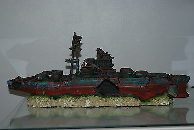Aquarium Large Battle Ship Destroyer & Rock Base For Aquariums 46 x 10 x 17 cms