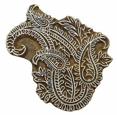 Wooden Paisley Pattern Stamp Block Textile Hand Carved Printing Block Print