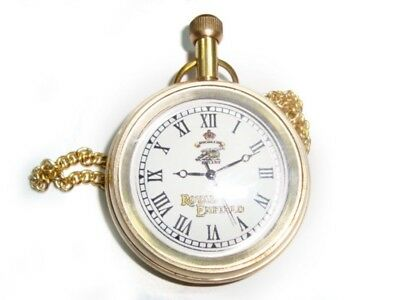 Early Brand New Royal Enfield Golden Brass Pocket Watch With Chain