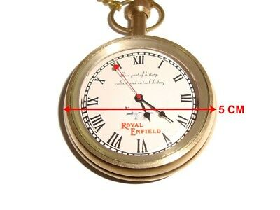 Early Royal Enfield Logo Golden Brass Pocket Watch With Chain