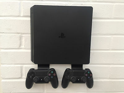PS4 SLIM Wall Mount Bracket Kit In Black Including Brackets For Controllers