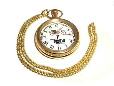 Vintage Bsa Motorcyle Golden Brass Pocket Watch With Chain