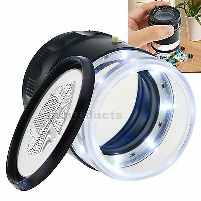 Magnifier Glass LED Lights Jewellers Eye Jewel Jewelry Loupe Reticle Scale 20mm