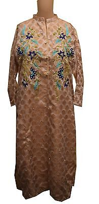 Kurti Top - Pakistani Style - Coffee Color Embroidered Fabric With Elegant Flora