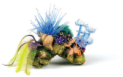 Coral Rock with Silicone Anemones Decoration Ornament for Aquarium Fish Tank