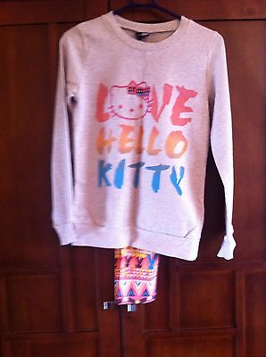 George Hello Kitty Leggings Top Set Girls Age 9 -10 Grey Sequin Multi Colour New