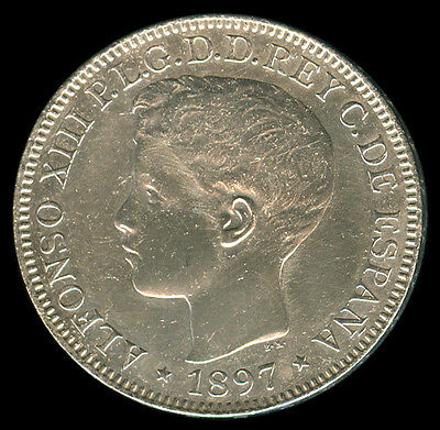 1897 Alfonso XIII UN Peso Spain / Spanish Philippines Silver Coin Km#154 - A