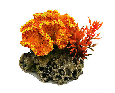 Orange Mini Coral on Rock Base with Artificial Plant Aquarium Ornament