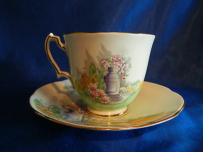 Adderley Fine English Bone China,  Floral & Gold Cup & Saucer  M55