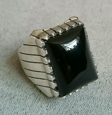 NAVAJO Sterling Onyx Large Ring NATIVE AMERICAN Men's VINTAGE Signed