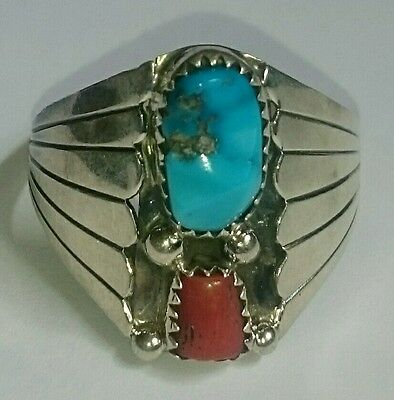 NAVAJO Sterling Silver Turquoise & Coral Ring NATIVE AMERICAN  Mens VINTAGE