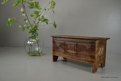 Geometric Carved African Blanket Box