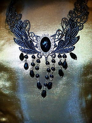 Victorian choker w/ waterfall beads! Vintage! Gothic!
