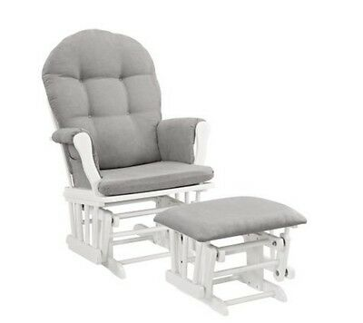 White Nursery Rocking Chair Baby Upholstered Glider And Ottoman