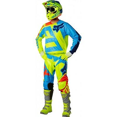Fox Completo 180 Nirv 2017 Giallo Fluo Blu Motocross Enduro Cross
