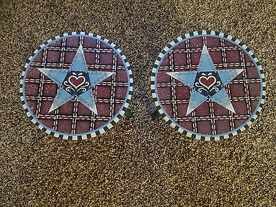 Set Of 2 Americana Heart Star Plant Stands