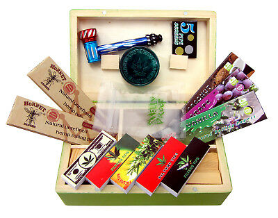 Smoking Wooden Stash Storage Rolling Box Gift Set Roach Papers Tips Grinder Pipe