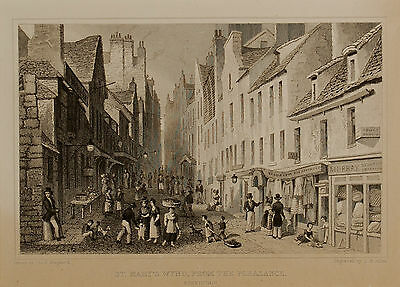 19th Century Mounted Engraving, St Mary's Wynd from the Pleasance, Edinburgh
