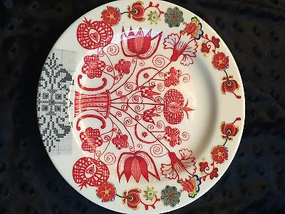 """INDONESIA  Tree of Life Salad Plate  8"""" WHITE / RED"""
