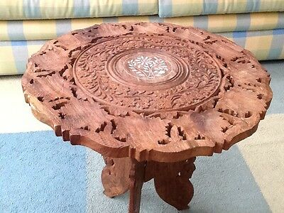 Vintage Indian Hand Carved, Folding Wooden Side Table  With Pierced Top