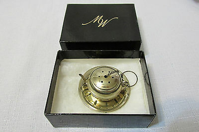 TWR Teapot Loose Tea Strainer Infuser With Dish Sterling with box LN