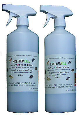 KRITTERKILL ADVANCE C  Moth Cockroach Bed Bug Flea Tick Mites Ant 1 LITRE