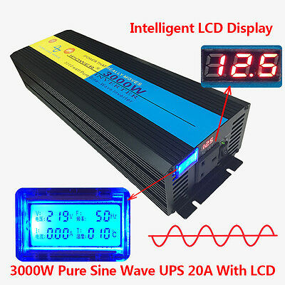 3000W/6000W Peak Pure Sine Wave Power Inverter 12V DC to 240V AC LCD/UPS/Charger