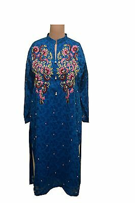 Blue Kurti Top - Pakistani Style - Embroidered Fabric With Elegant Floral Thread