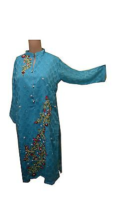 Light Blue Kurti Top - Asian/ Pakistani Style - Embroidered Fabric With Floral T