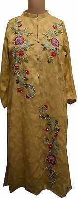 Caramel Kurti Top - Asian/ Pakistani Style - Embroidered Fabric With Elegant Flo