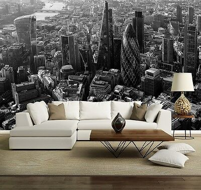 LONDON CITY SKYLINE SKYSCRAPERS Photo Wallpaper Wall Mural BLACK&WHITE 335x236cm