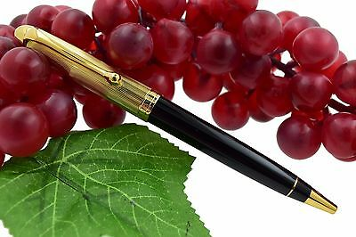 NEW + BOX Aurora 88 Black Resin & Gold Plated Cap Ballpoint Pen Model #831