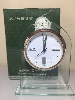 "Howard Miller Regent Table Clock Alarm Clear Glass Etched Quote Gift 6""  645579"