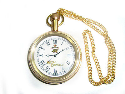 Early Brand New Royal Enfield Golden Brass Pocket Watch With Chain @royal Spares