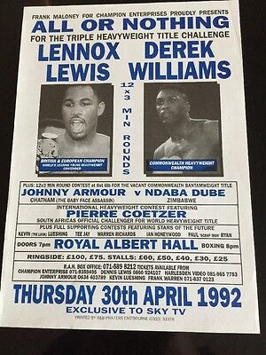 Lennox Lewis A4 Boxing Flyer / Poster