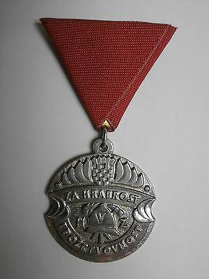 Croatia firefighting silver medal for bravery, silvered