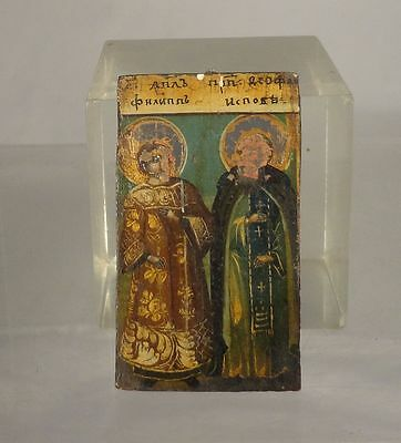 Antique Christian Russian Greek Orthodox Religious Icon Two Saints Oil Panel