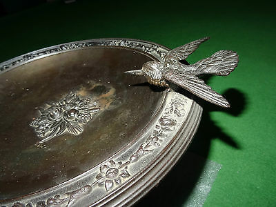 Magnificent Bronze Tazza With Bird And Foliage Decoration