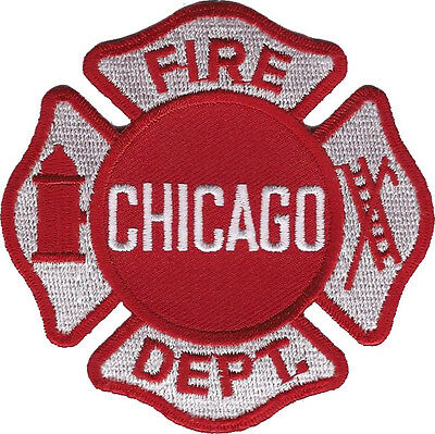 "Chicago Fire Department Shoulder Patch - 3 3/8"" tall by 3 3/8"" wide"