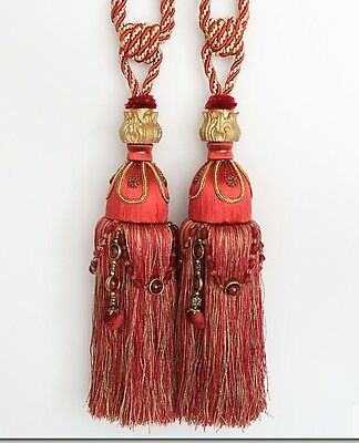 "HEAVY LARGE 13"" Luxury Tassel Curtain Tieback Holdback Window. Beaded. RED GOLD"