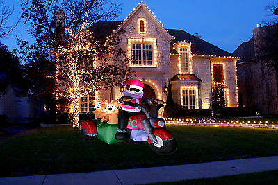 6Ft Santa Riding Motorcycle Inflatable Air Blower Decoration Outdoor Christmas