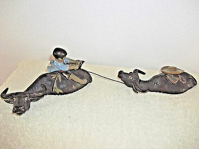 Child Riding Water Buffalo Figurine Leading Another - 69 China