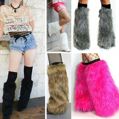 Soft Faux Fur Boot Topper Leg Warmers Long and Short Black White Brown Grey New