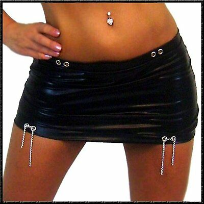 Super Sexy Micro Minirock Mini Rock Wetlook glanz schwarz mit Ketten