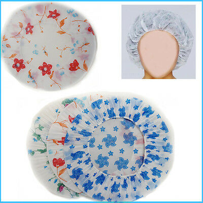 3 Shower Reusable Cap Waterproof Bath Elastic Women Hat Caps Plastic Head Cover
