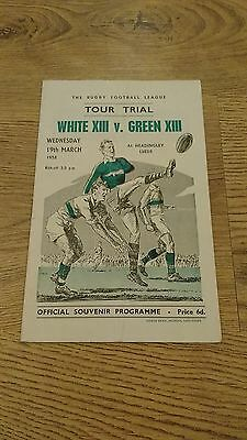 White XIII v Green XIII 1958 Tour Trial Rugby League Programme
