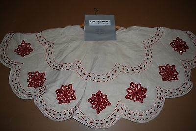 Kim Seybert Holiday Beaded Red Sequin Christmas Tree Skirt 58 Ivory Gorgeous