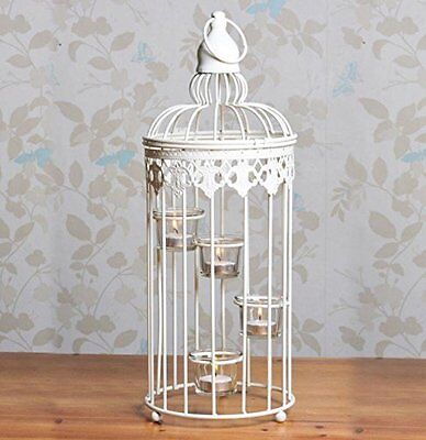 Large vintage lantern tea light candle holder white birdcage