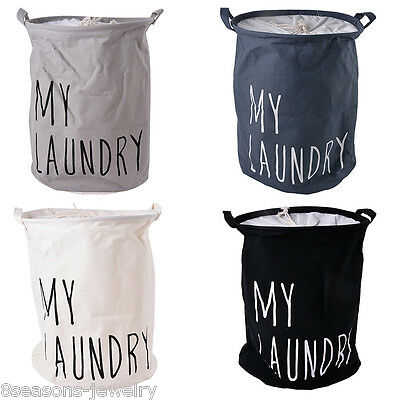 1PC New MY laundry Lettering Cotton & Linen Laudry Storage Clothes Basket Bucket